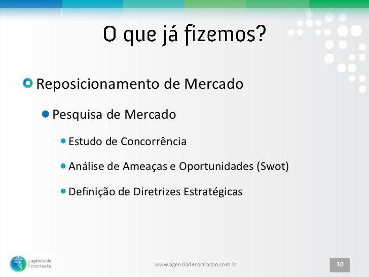 Reposicionamento de Mercado  Pesquisa de Mercado    Estudo de Concorrência    Análise de Ameaças e Oportunidades (Swot)   ...