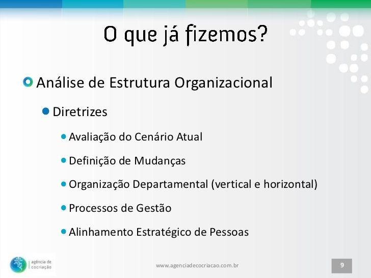 Análise de Estrutura Organizacional  Diretrizes    Avaliação do Cenário Atual    Definição de Mudanças    Organização Depa...