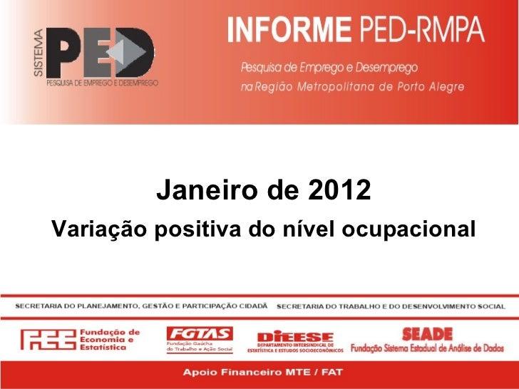 Janeiro de 2012 Variação positiva do nível ocupacional