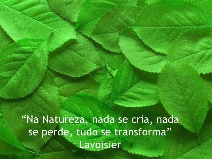 """ Na Natureza, nada se cria, nada se perde, tudo se transforma"" Lavoisier"