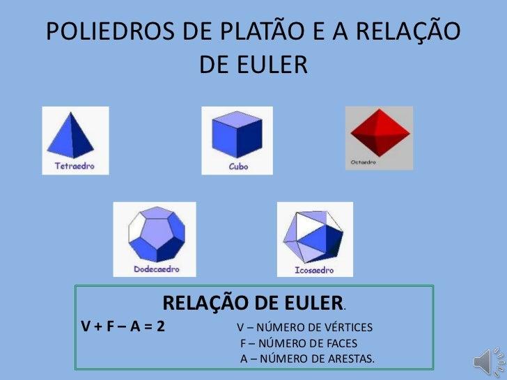 POLIEDROS DE PLATÃO E A RELAÇÃO           DE EULER        RELAÇÃO DE EULER.  V+F–A=2     V – NÚMERO DE VÉRTICES           ...