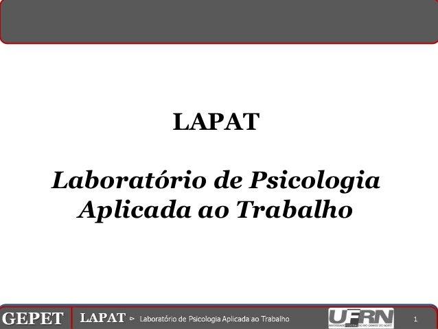 LAPAT          Laboratório de Psicologia            Aplicada ao TrabalhoGEPET gPPOT⊳ ⊳ Processos de Psicologiaorganizações...