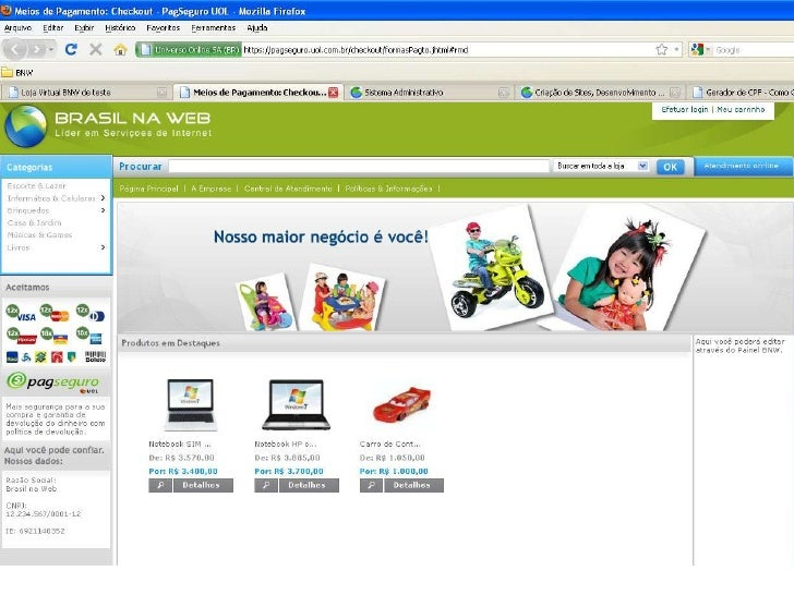 Apresentação de lojas virtuais Brasil na Web