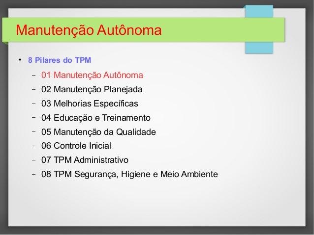 Apresentação Manutenção Autônoma - Jishu Hozen Slide 3