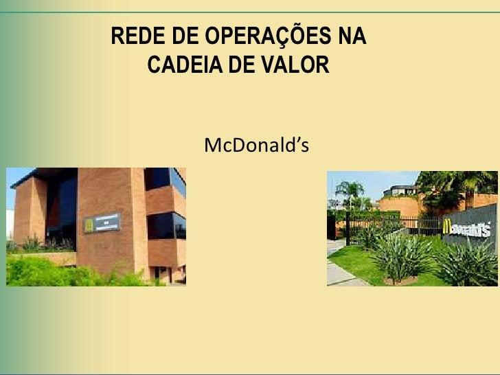 REDE DE OPERAÇÕES NA   CADEIA DE VALOR       McDonald's