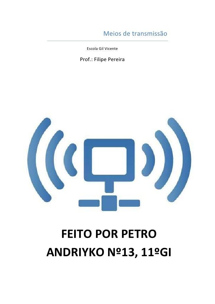 Meios de transmissão        Escola Gil Vicente     Prof.: Filipe Pereira  FEITO POR PETROANDRIYKO Nº13, 11ºGI