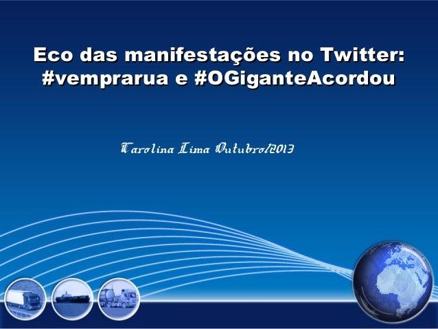 Eco das manifestações no Twitter: #vemprarua e #OGiganteAcordou Carolina Lima Outubro/2013