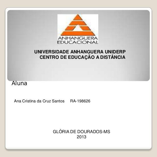 UNIVERSIDADE ANHANGUERA UNIDERPCENTRO DE EDUCAÇÃO A DISTÂNCIAAna Cristina da Cruz Santos RA-198626GLÓRIA DE DOURADOS-MS201...