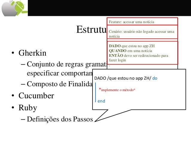 Estrutura • Gherkin – Conjunto de regras gramaticais que permite especificar comportamentos em linguagem natural – Compost...