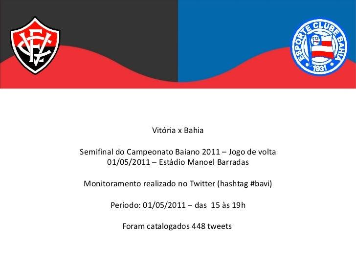 Vitória x BahiaSemifinal do Campeonato Baiano 2011 – Jogo de volta       01/05/2011 – Estádio Manoel BarradasMonitoramento...