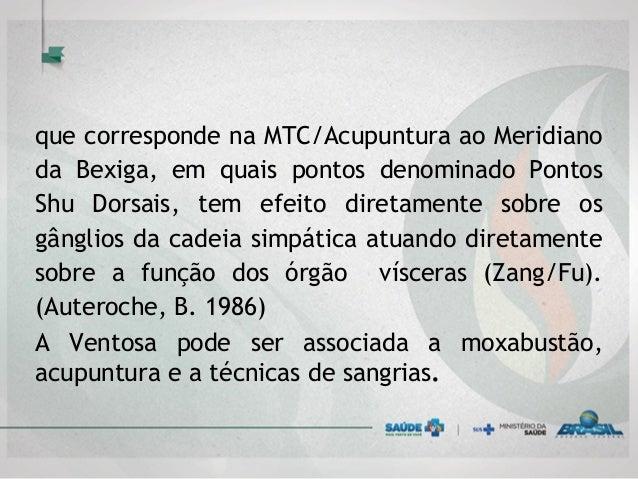 que corresponde na MTC/Acupuntura ao Meridiano da Bexiga, em quais pontos denominado Pontos Shu Dorsais, tem efeito direta...
