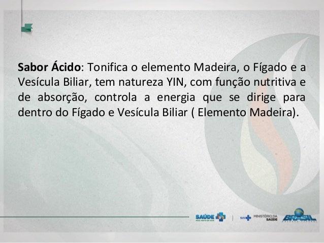 Sabor Ácido: Tonifica o elemento Madeira, o Fígado e a Vesícula Biliar, tem natureza YIN, com função nutritiva e de absorç...