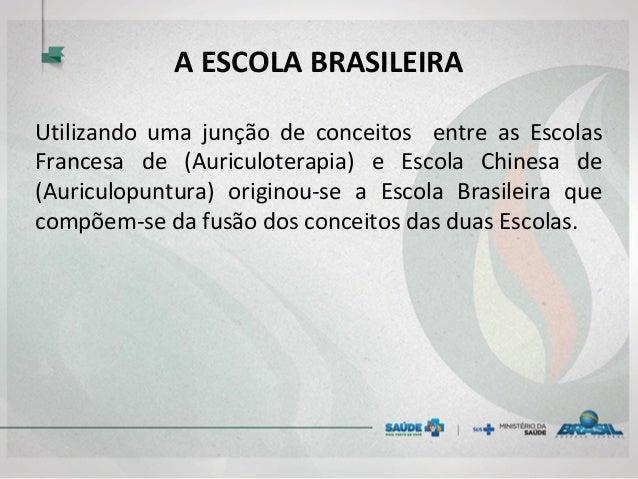 A ESCOLA BRASILEIRA Utilizando uma junção de conceitos entre as Escolas Francesa de (Auriculoterapia) e Escola Chinesa de ...