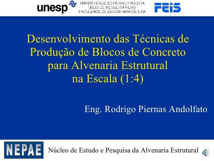 Desenvolvimento das Técnicas de Produção de Blocos de Concreto    para Alvenaria Estrutural         na Escala (1:4)       ...