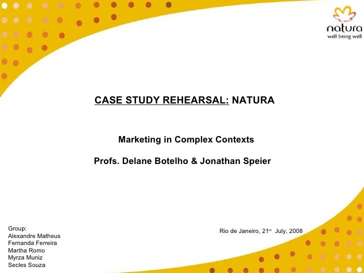 CASE STUDY REHEARSAL:  NATURA Group:  Alexandre Matheus Fernanda Ferreira Martha Romo Myrza Muniz Secles Souza Rio de Jane...