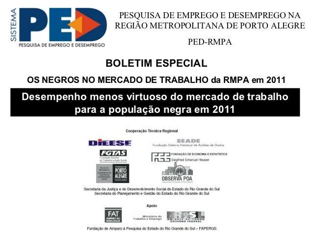 PESQUISA DE EMPREGO E DESEMPREGO NA                REGIÃO METROPOLITANA DE PORTO ALEGRE                             PED-RM...