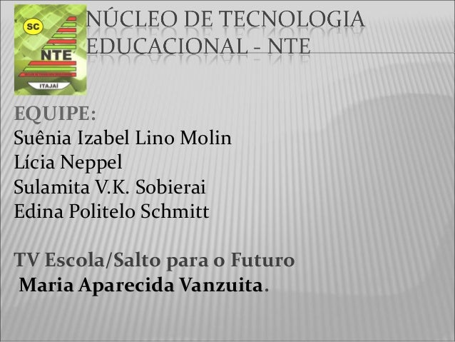 EQUIPE: Suênia Izabel Lino Molin Lícia Neppel Sulamita V.K. Sobierai Edina Politelo Schmitt TV Escola/Salto para o Futuro ...