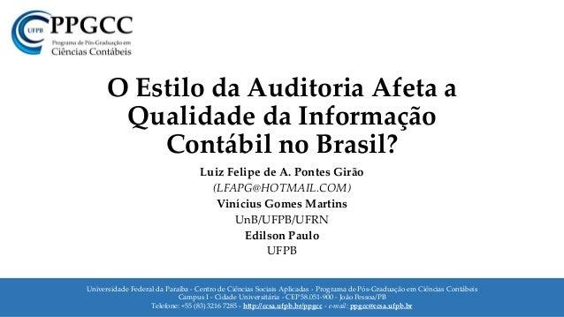 Universidade Federal da Paraíba - Centro de Ciências Sociais Aplicadas - Programa de Pós-Graduação em Ciências Contábeis C...