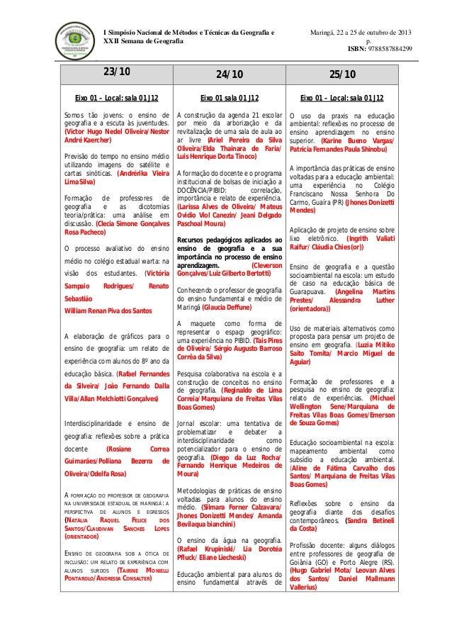 I Simpósio Nacional de Métodos e Técnicas da Geografia e XXII Semana de Geografia  Maringá, 22 a 25 de outubro de 2013 p. ...