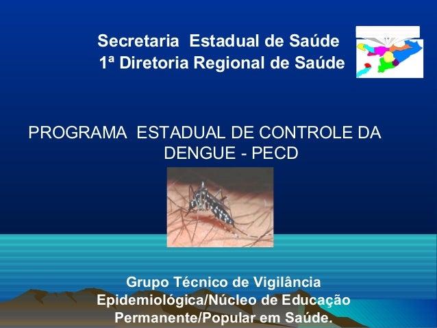 Secretaria Estadual de Saúde 1ª Diretoria Regional de Saúde Grupo Técnico de Vigilância Epidemiológica/Núcleo de Educação ...
