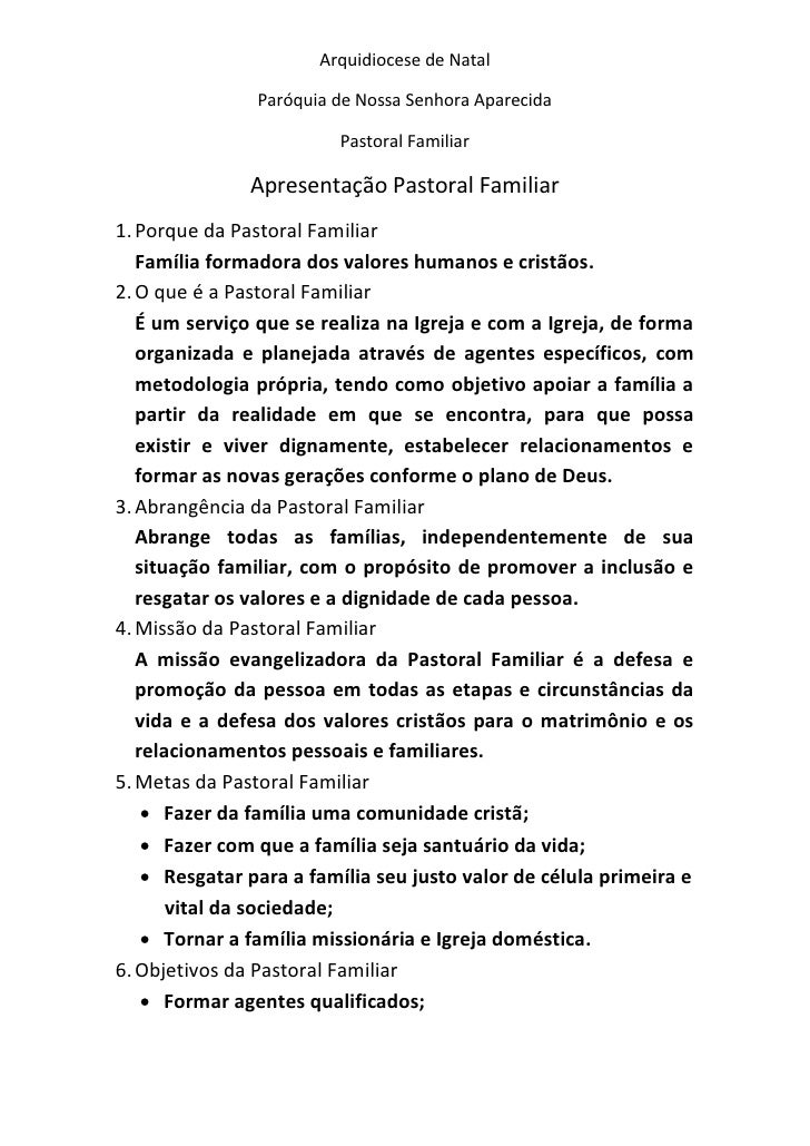 Arquidiocese de Natal                Paróquia de Nossa Senhora Aparecida                         Pastoral Familiar        ...