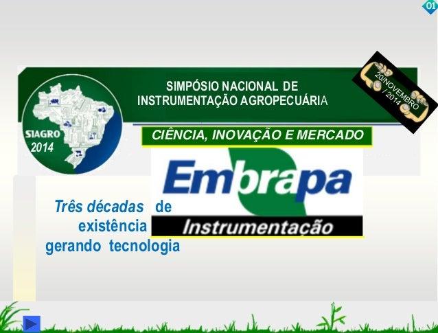SIMPÓSIO NACIONAL DE  INSTRUMENTAÇÃO AGROPECUÁRIA  CIÊNCIA, INOVAÇÃO E MERCADO  01  Três décadas de  existência  2014  ger...