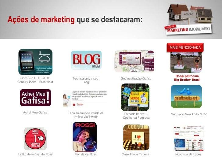 Ações de marketing que se destacaram:<br />MAIS MENCIONADA<br />Rossi patrocina<br />Big Brother Brasil<br />Concurso Cult...