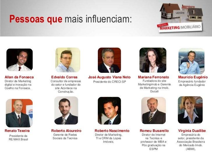 Pessoas que mais influenciam: <br />Allan da Fonseca<br />Edvaldo Correa<br />José Augusto Viana Neto<br />Mariana Ferrona...