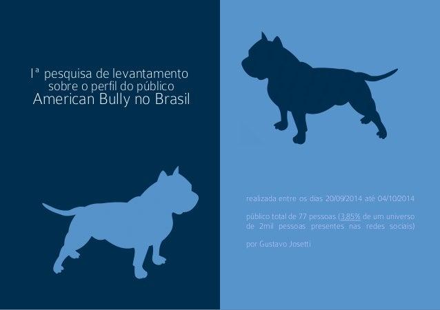 Iª pesquisa de levantamento  sobre o perl do público  American Bully no Brasil  realizada entre os dias 20/09/2014 até 04/...