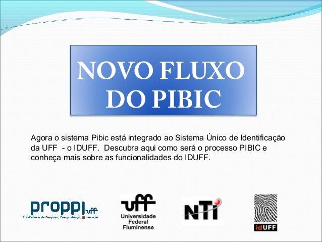 NOVO FLUXO DO PIBIC Agora o sistema Pibic está integrado ao Sistema Único de Identificação da UFF - o IDUFF. Descubra aqui...