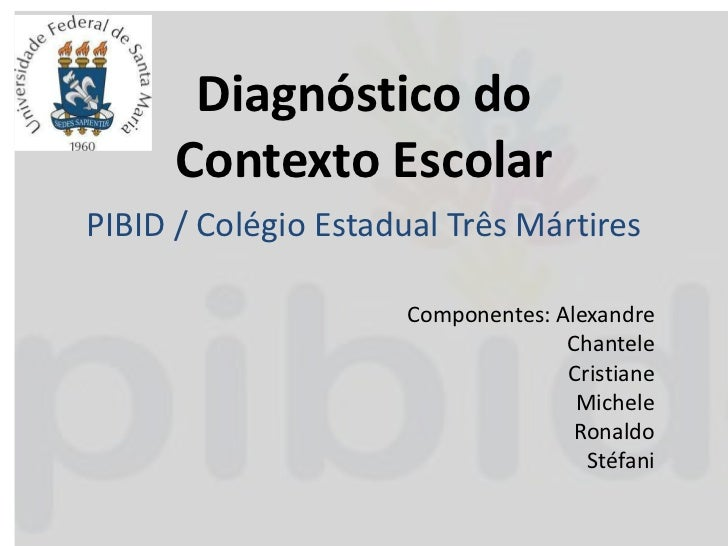 Diagnóstico do      Contexto EscolarPIBID / Colégio Estadual Três Mártires                     Componentes: Alexandre     ...