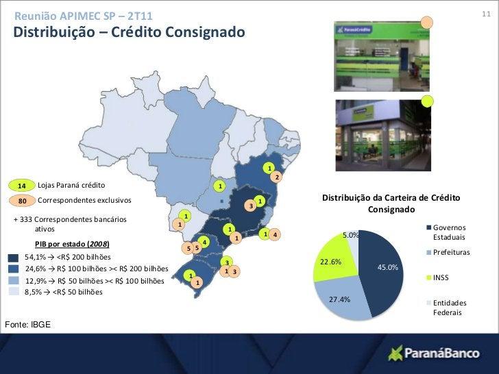 11<br />Reunião APIMEC SP – 2T11<br />Distribuição – Crédito Consignado<br />1<br />2<br />Lojas Paraná crédito<br />14<br...