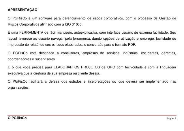 PGRisCo (software para gerenciamento de riscos corporativos) Slide 2