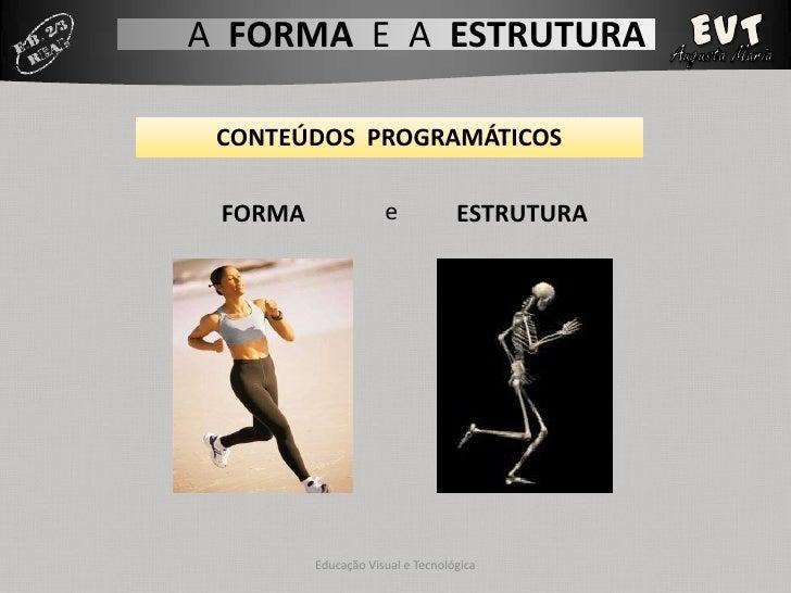 A FORMA E A ESTRUTURA CONTEÚDOS PROGRAMÁTICOS FORMA               e            ESTRUTURA         Educação Visual e Tecnoló...