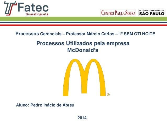 Processos Utilizados pela empresa McDonald's Processos Gerenciais – Professor Márcio Carlos – 1º SEM GTI NOITE Aluno: Pedr...