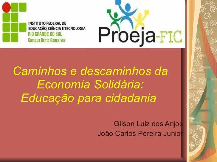 Caminhos e descaminhos da Economia Solidária: Educação para cidadania   Gilson Luiz dos Anjos João Carlos Pereira Junior