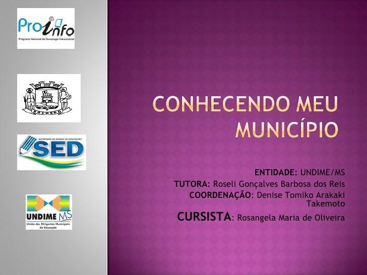 ENTIDADE: UNDIME/MSTUTORA: Roseli Gonçalves Barbosa dos Reis   COORDENAÇÃO: Denise Tomiko Arakaki                         ...