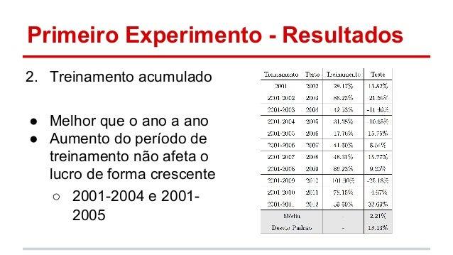 Primeiro Experimento - Resultados  2. Treinamento acumulado  ● Melhor que o ano a ano  ● Aumento do período de  treinament...