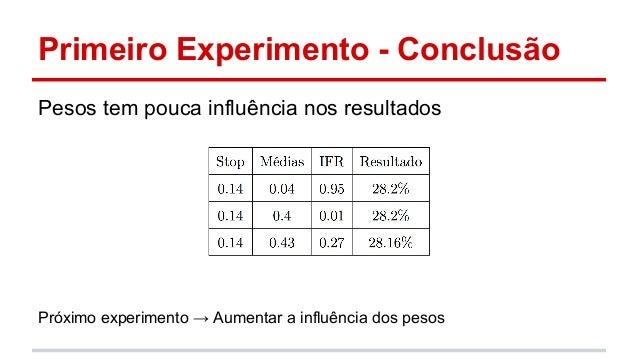 Primeiro Experimento - Conclusão  Pesos tem pouca influência nos resultados  Próximo experimento → Aumentar a influência d...