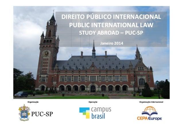 Organização Operação Organização Internacional DIREITO PÚBLICO INTERNACIONAL PUBLIC INTERNATIONAL LAW STUDY ABROAD – PUC-S...