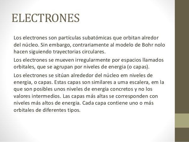 ELECTRONES Los electrones son partículas subatómicas que orbitan alredor del núcleo. Sin embargo, contrariamente al modelo...