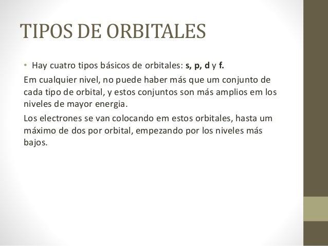 TIPOS DE ORBITALES • Hay cuatro tipos básicos de orbitales: s, p, d y f. Em cualquier nivel, no puede haber más que um con...