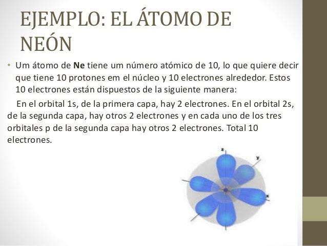 EJEMPLO: EL ÁTOMO DE NEÓN • Um átomo de Ne tiene um número atómico de 10, lo que quiere decir que tiene 10 protones em el ...