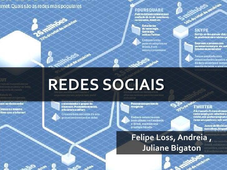 REDES SOCIAIS<br />Felipe Loss, Andreia , JulianeBigaton<br />
