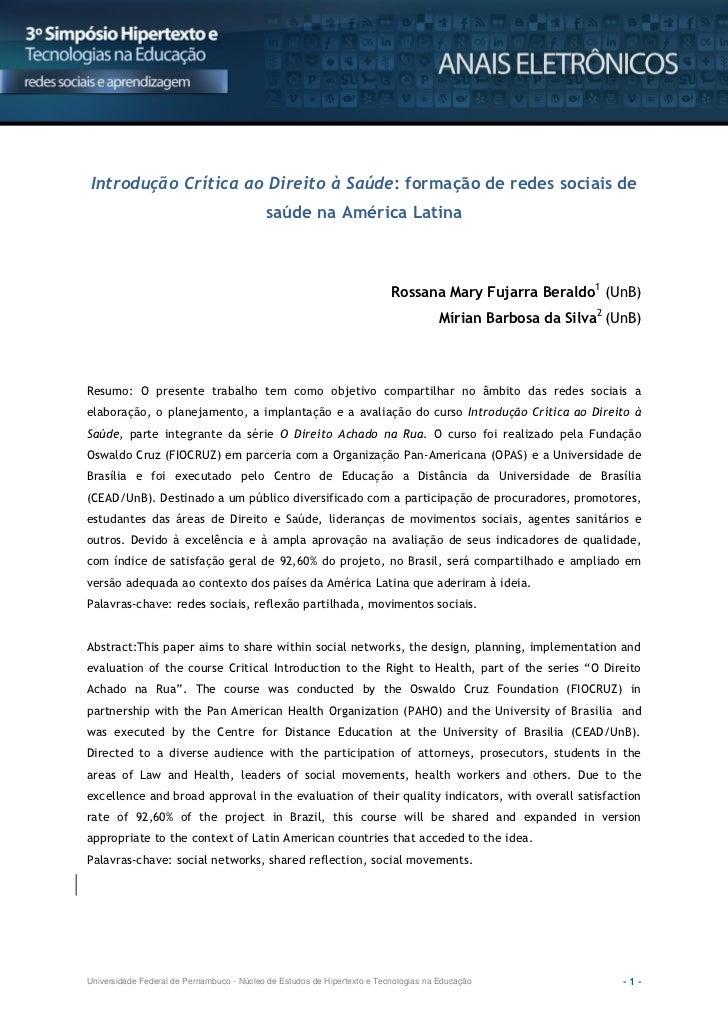 Introdução Crítica ao Direito à Saúde: formação de redes sociais de                                           saúde na Amé...