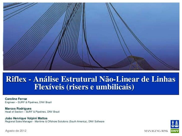 Riflex - Análise Estrutural Não-Linear de Linhas         Flexíveis (risers e umbilicais)Caroline FerrazEngineer – SURF & P...