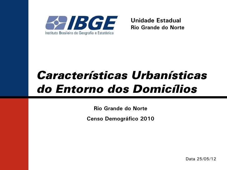 Unidade Estadual                       Rio Grande do NorteCaracterísticas Urbanísticasdo Entorno dos Domicílios          R...