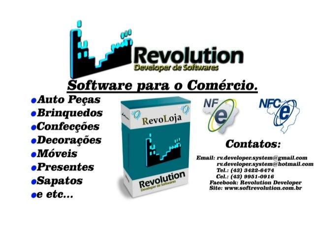 Sobre a Empresa A Revolution Developer de Softwares é uma empresa especializada em desenvolvimento de softwares para gestã...