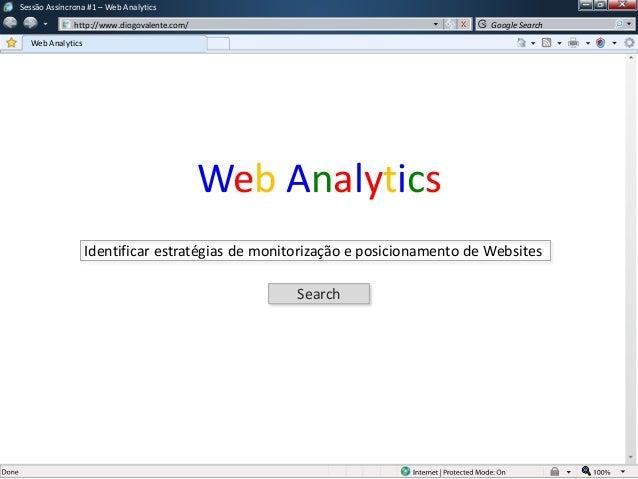 http://www.diogovalente.com/Web AnalyticsGoogle SearchSearchIdentificar estratégias de monitorização e posicionamento de W...