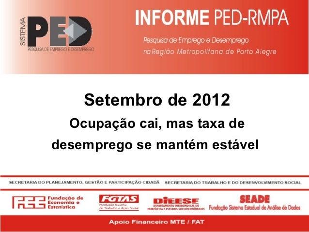 Setembro de 2012  Ocupação cai, mas taxa dedesemprego se mantém estável
